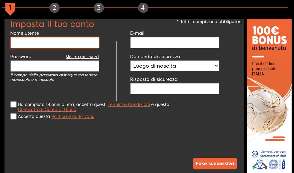 888 Sport Registrazione